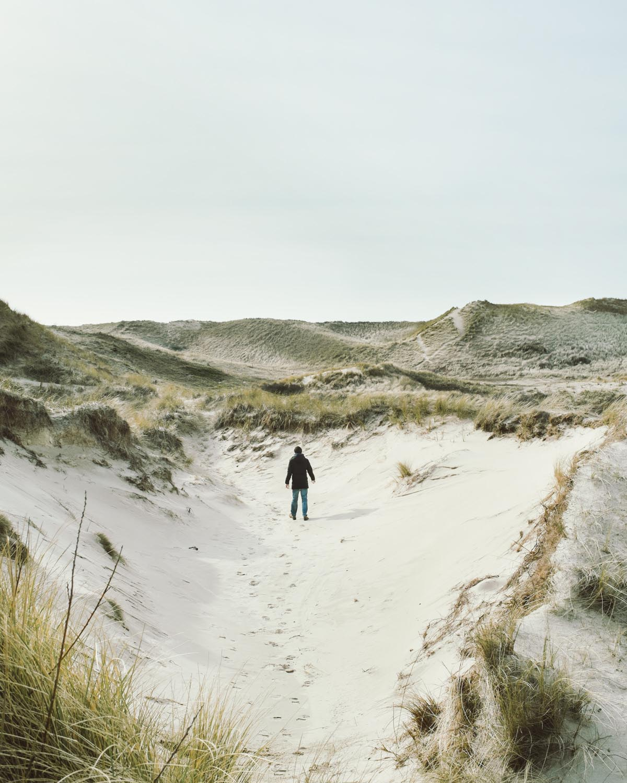 egmond aan zee mensch einsam alleine schwarze jackelandschaft dünen sand himmel niederlande urlaub